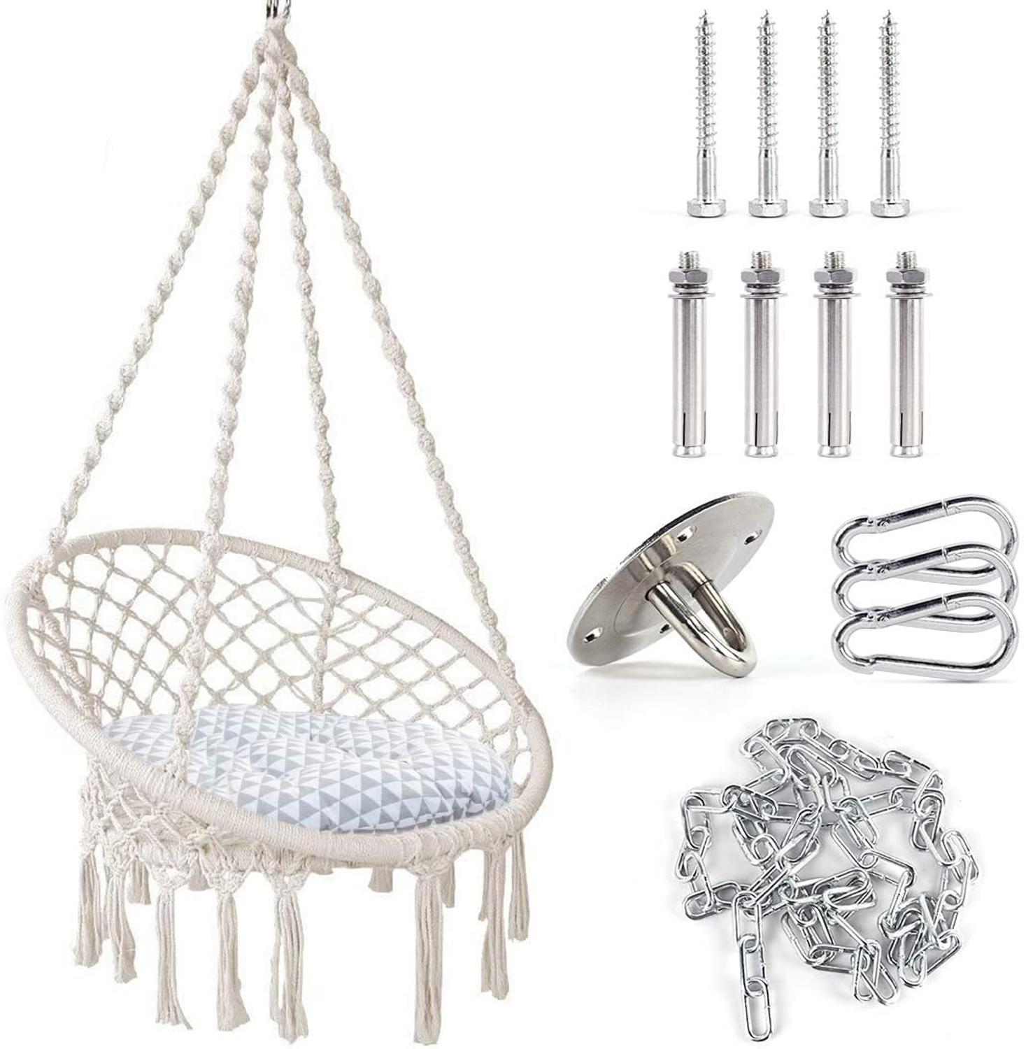 Hammock Swing Chair Macrame Hanging Chair, Boho Room Upholstery Cotton Hammock Chair,Suspension Hardware&MATS Are Included