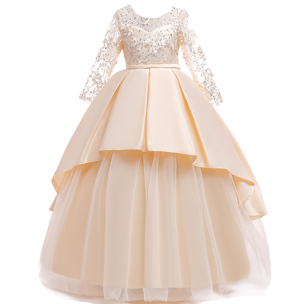Europe And America 2019 CHILDREN'S Dress Princess Dress Tube Top Bow Gauze Long Skirts Embroidery Long Sleeve Pleated Puffy Skir