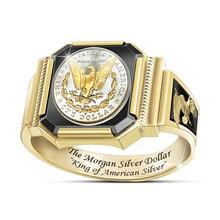 Anillos de águila Morgan de colores dorados Vintage para hombre, fiesta de motos Steampunk Rock Hip Hop, anillos de plata de dólar, joyería