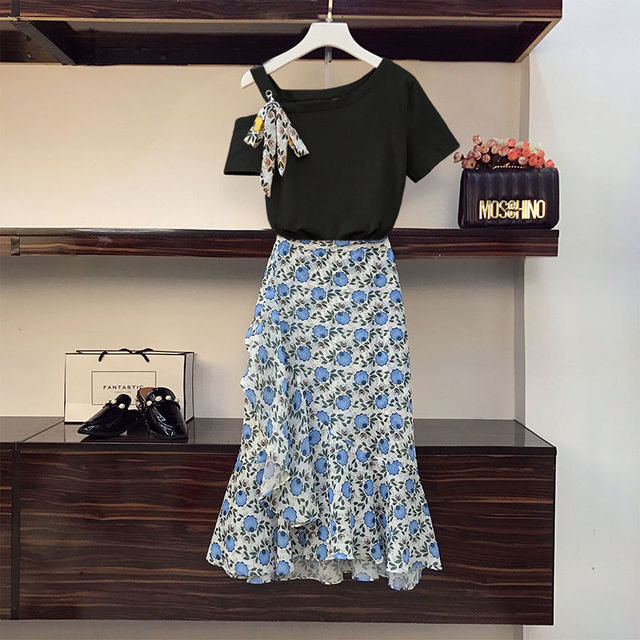 Plus Size Women's Skirt Suit 2021 Summer New Fashion Flower High-waisted Loose Skirts Two Piece Girl Sweet Bow Light Dress Set 3