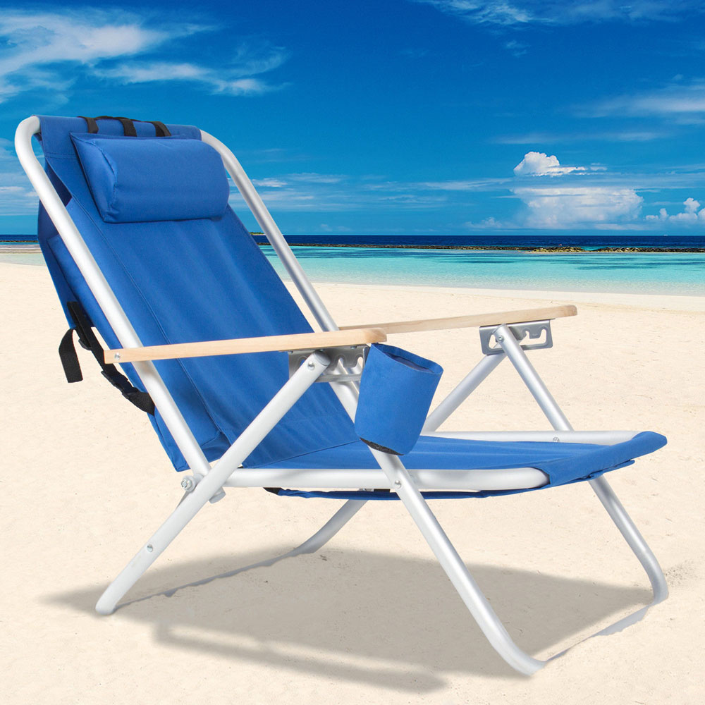 【US Warehouse】Portable High Strength Beach Chair With Adjustable Headrest Blue Free Shipping Drop Shipping