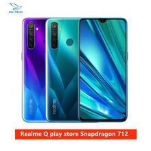 Realme Q 6,3 ''мобильный телефон Snapdragon 712AIE Восьмиядерный 48MP четырехъядерный мобильный телефон OPPO VOOC 20W быстрое зарядное устройство мобильный телефон