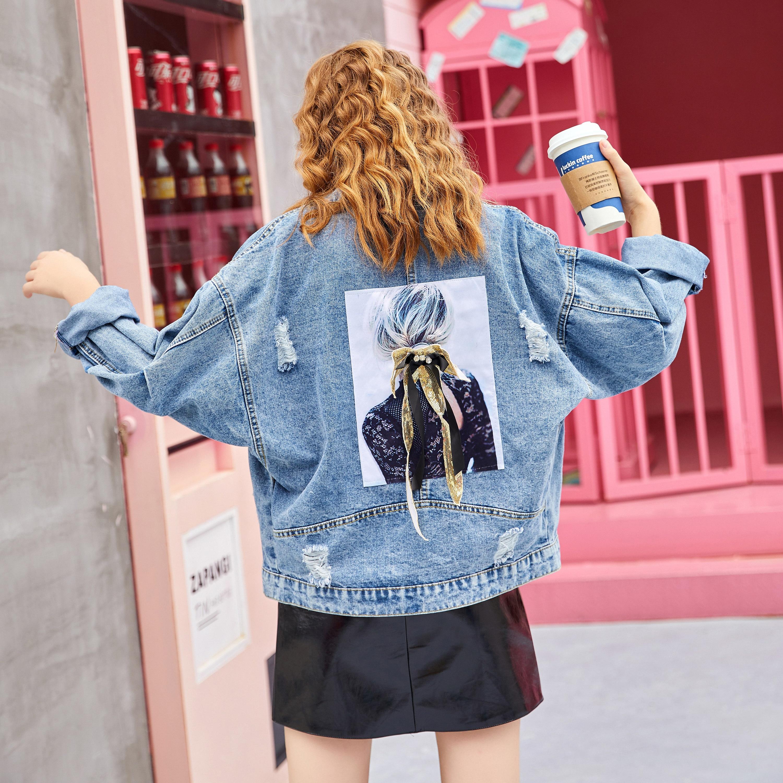 Girls Printed Denim   Jacket   Blue   Basic     Jackets   Women High Street Fashion Outerwear Coats Female Casual Autumn Winter   Jacket