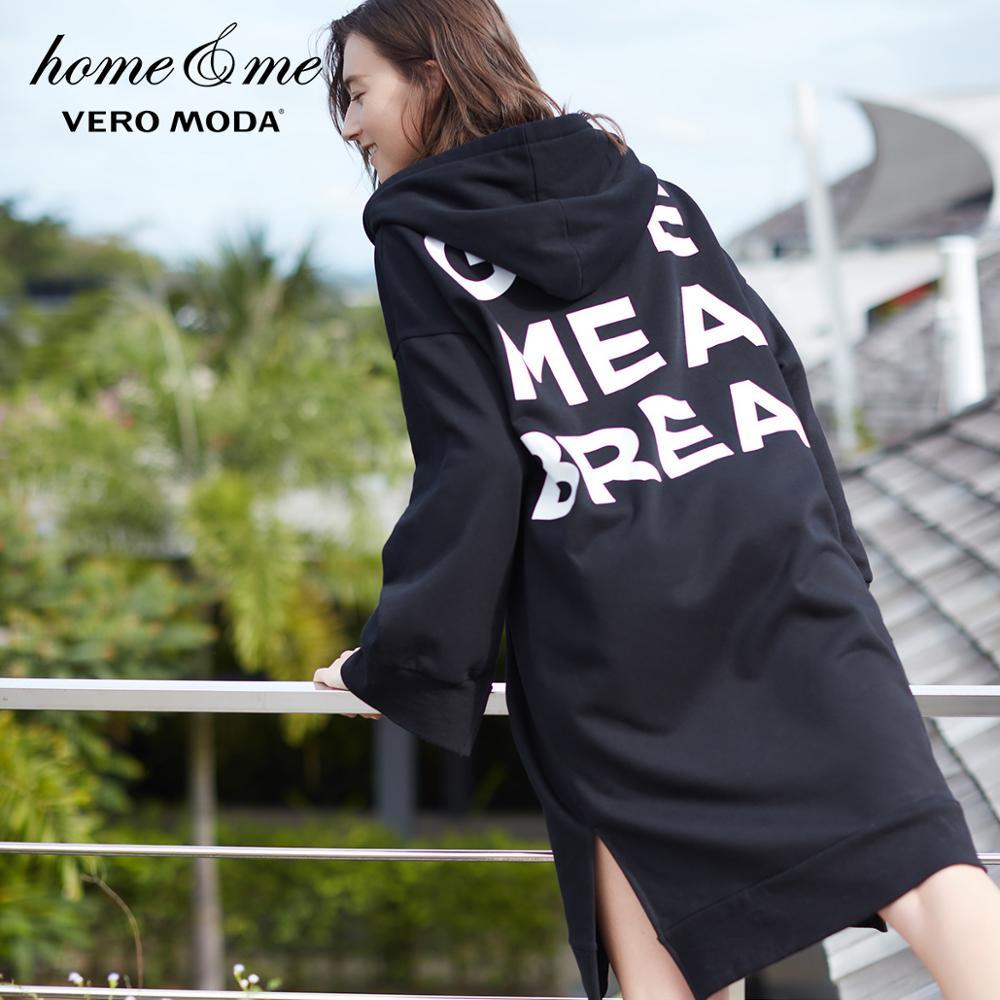 Vero moda 2019 primavera novo com capuz solto longo lazer casa-vestir vestido   318160504