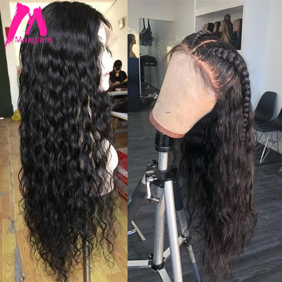 Brazilian Lace Front Human Hair Wigs Short Water Wave Wig Natural Color Preplucked Long Remy Hair Glueless For Black Women 130%