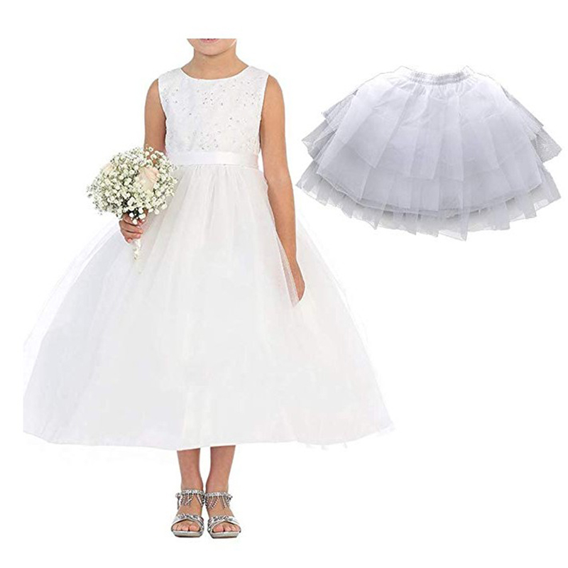 Flower Girl Skirt White Slim Tulle Short Skirt Petticoat Bridal Wedding Clothes Skirt Crinoline Underskirt Tutu Casual Petticoat