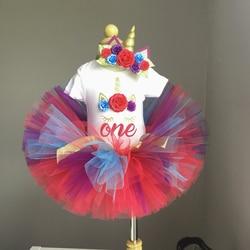 Рождественское платье для маленьких девочек, с надписью One, с рисунком в виде единорога, одежда для малышей, платье для маленьких девочек 1 го...