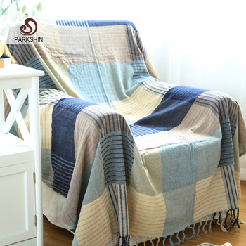 Parkshin Anti Dirty Geometry Art Knitted Blanket Pure Cotton Warm Rectangle Bed Cover Sofa Cover Decor Bedspread Home Textiles