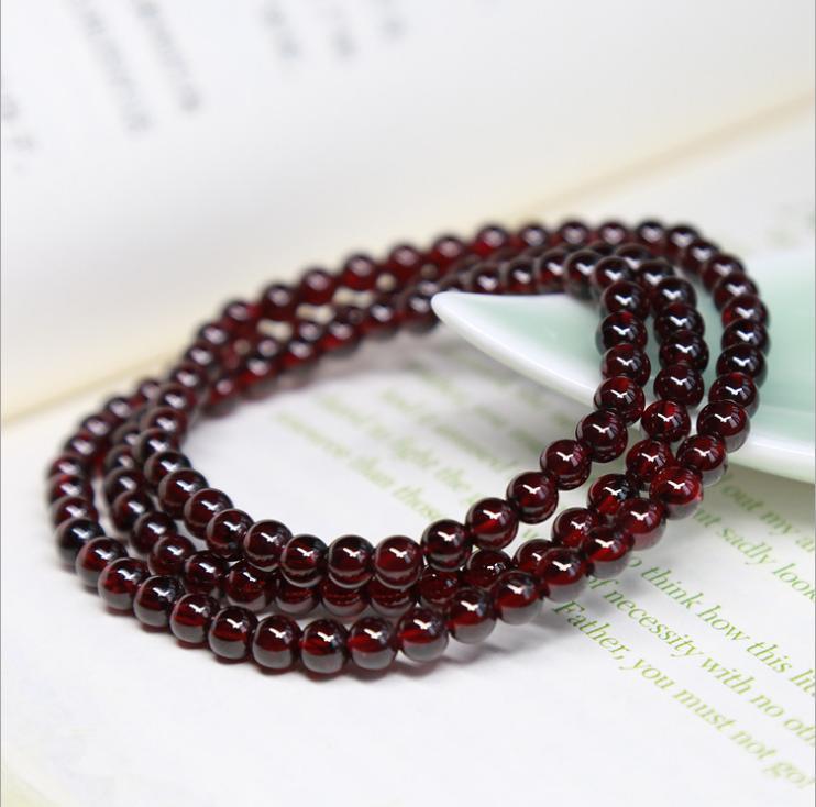 Bracelet grenat rouge vin naturel multi-tours multi-couche femelle classe 5A chaîne à main trois rondes