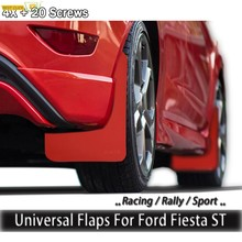 For Ford Fiesta ST S SE SES SEL Titanium ST-2 ST-3 Classic ST200 ST500 Red Mud Flaps Mudflaps Splash Guards Mudguards W/Clips(China)