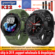 Greentiger K22 Smart Watch Men Dial Bluetooth Call Blood Pressure Oxygen Alarm Clock Waterproof Sport Fitness Smartwatch PK W56
