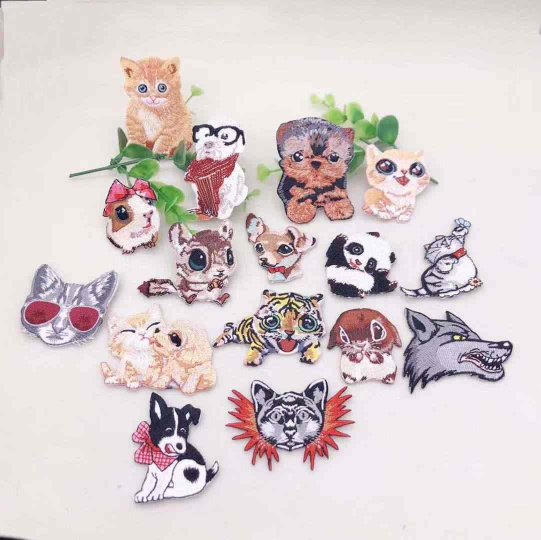 Embroidery Applique Patch Sew Iron Badge Cute Raccoon Shiba Dog Iron On