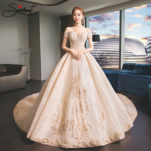 цена SERMENT Luxury Royal Pattern Wedding Dress Off The Shoulder Lace Up Royal Train Golden Pattern Royal Wedding Church Wedding онлайн в 2017 году