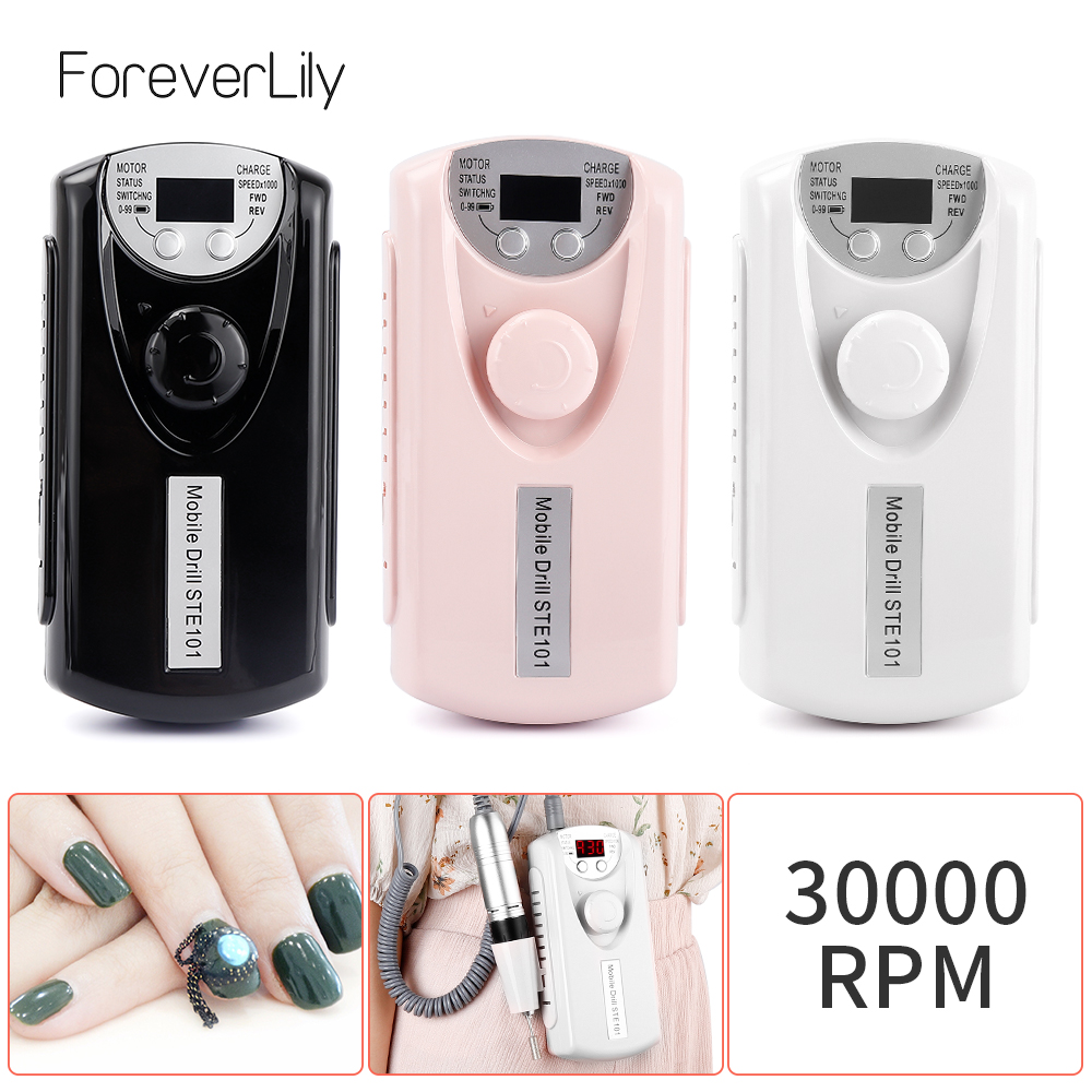 Nail Drill Machine Portable Rechargeable Nail Drill Bits Polishing Machine Set For Manicure Pedicure Nail Cutter Device 30000RPM