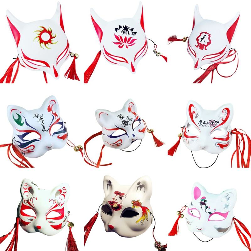 Hand-painted Japanese Half Face PVC Fox Mask with Tassels+Small Bells Cosplay