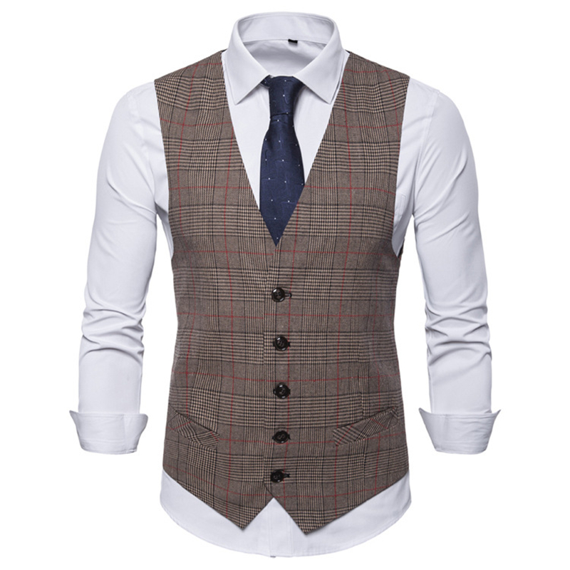 Men's Vest Wedding Groom Groomsman Suit Vest Men's Business Casual Formal Suit Vest Fashion Checked Single-breasted Vest