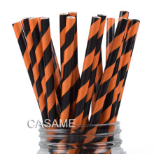 25 pcs Wholesale Price Paper Straws Orange Black Stripe Drinking Straw Halloween All Saints Day Party Decoration Supplies