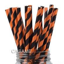 Pailles en papier, à rayures, Orange et noir, 25 pièces, vente en gros, fournitures décoratives pour Halloween, saint valentin