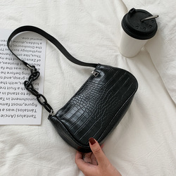 Crocodile Pattern Baguette Handbag For Women 2021 Candy Color Chain Ladies Small Shoulder Bags Fashion Design Leather Armpit Bag