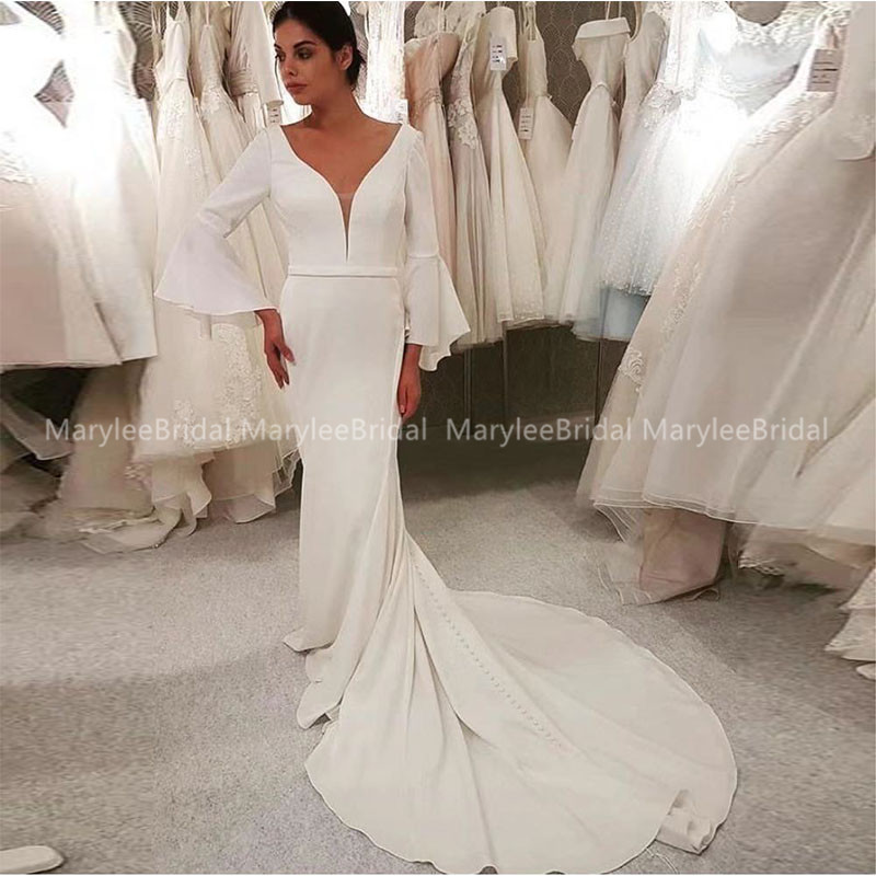 V-neck Modest Wedding Dress With Long Bell Sleeves Elegant Mermaid Bruidsjurk White Ivory Women Bridal Dress For Winter Wedding