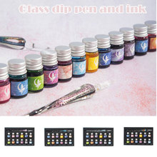 Crystal Starry Sky Glass Dip Pen Set And Ink Set Pens Fountain Pen Inks For Writing Drawing School Supplies Handle Writing Stylo