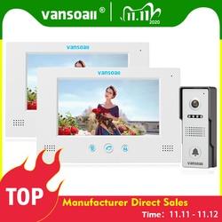 VANSOALL drzwi wideo dzwonek telefonu domofon z blokada sterowania przycisk dotykowy 2 kolor 7 cal monitora i 1 kamera HD zestaw