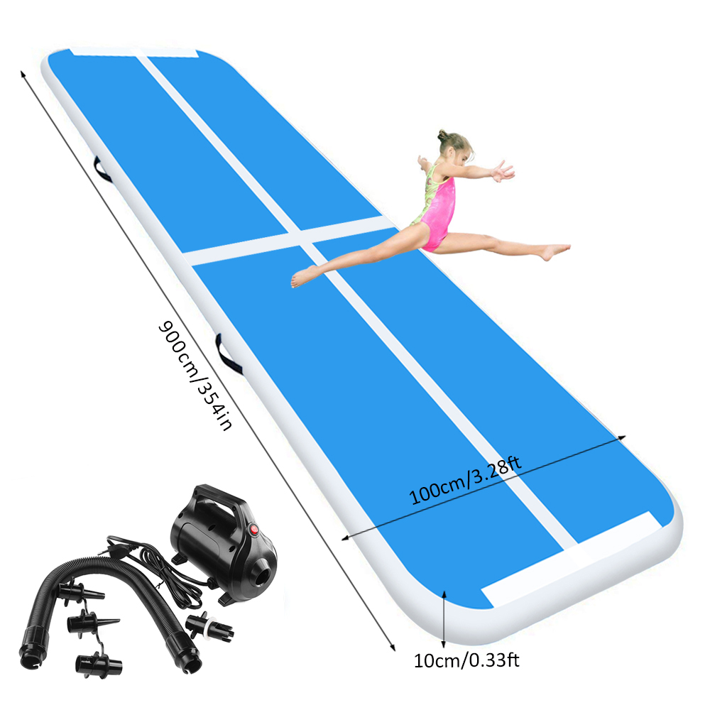 Blue 9m/29.5ft Inflatable Air Track Tumbling Gymnastic Mat Floor Home Training W/ Pump Newest Free Shipping!