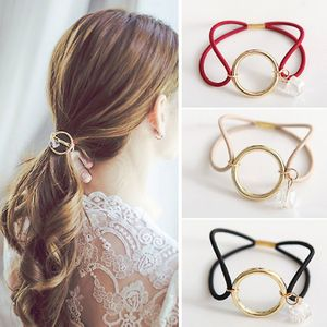 Women Girl Headwear Round Circle With Crystal Gum Ornament Elastic Hair Bands Geometric Metal Simple Elastic Hair Rubber Hot