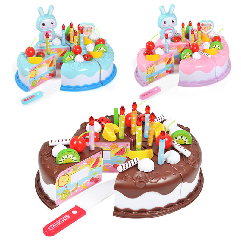 37pcs Kitchen Toys Cake Food DIY Pretend Play Fruit Cutting Birthday Toys for Children Wood Educational Baby Kids Gift