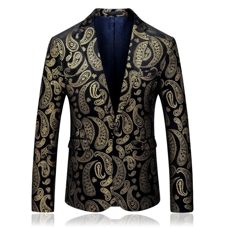 2019 осенние модные костюмы с длинными рукавами и блейзеры для мужчин плюс размер 5xl одна кнопка Золотой блейзер с принтом для мужчин