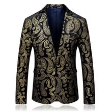 2019 autumn fashion long sleeve suits and blazers for men plus size 5xl single button gold printed blazer