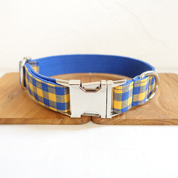 Pretty Plaid Style dog collars and leashes set 5 sizes Handmade soft pet accessory THE BLUE YELLOW PLAID UDC068 image