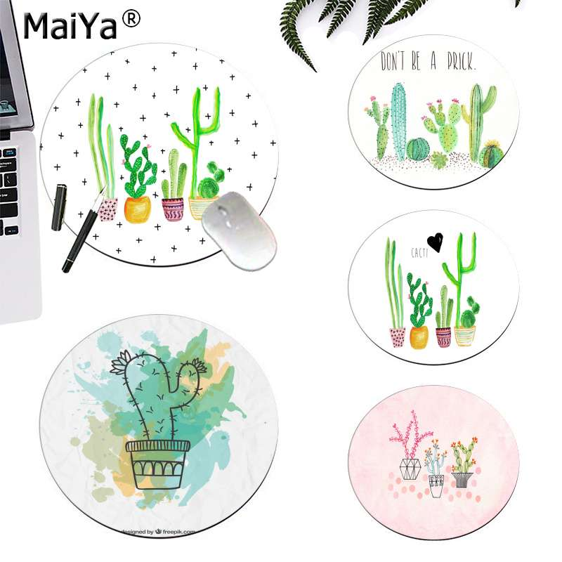 MaiYa Non Slip PC Cactus Watercolor  Round  Mouse Pad PC Computer Mat Gaming Mousepad Rug For PC Laptop Notebook