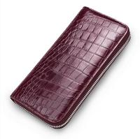 Wristlet Wallet Purse Crocodile Skin Wallet Female Long Zipper Women Wallets Card Holder Clutch Ladies Wallets Purple Blue Red