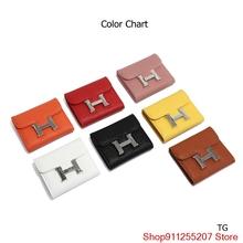 Luksusowy projektant marki Hermes portfel kobiet torebki czarny brązowy składany portfel zamek monety kiesy portfele H H06 tanie tanio Skóra Split FR (pochodzenie)