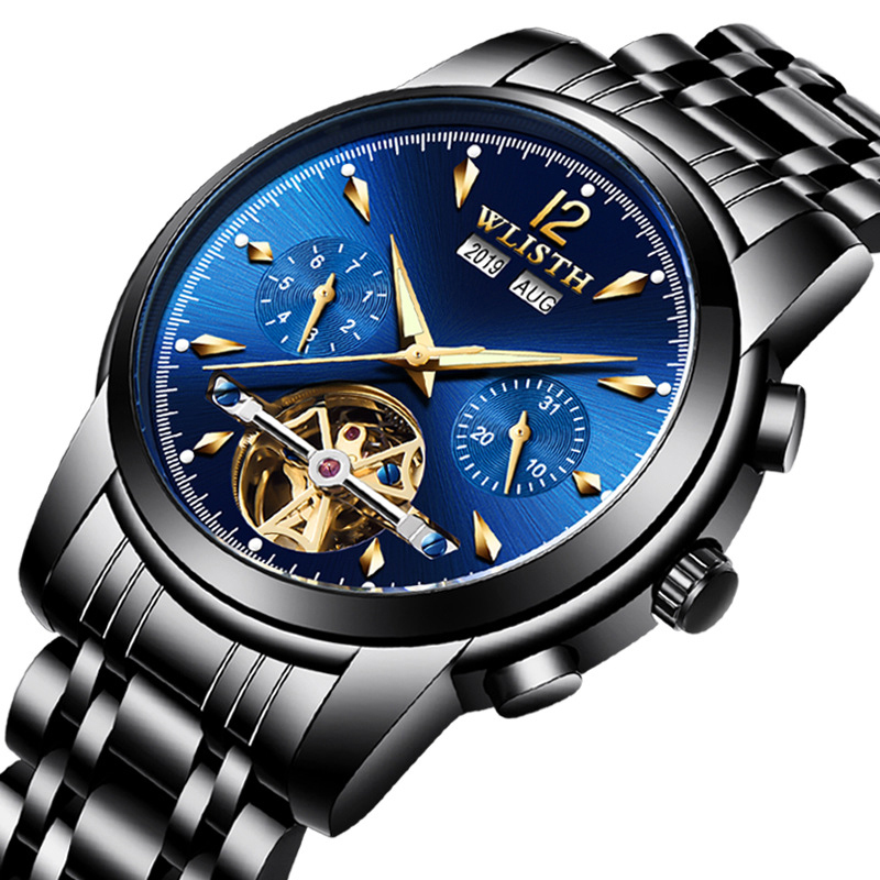 Watch Men Skeleton Automatic Mechanical Watch Full Date High Quality Mens Watches Top Brand Luxury Clock Box Relogio Masculino
