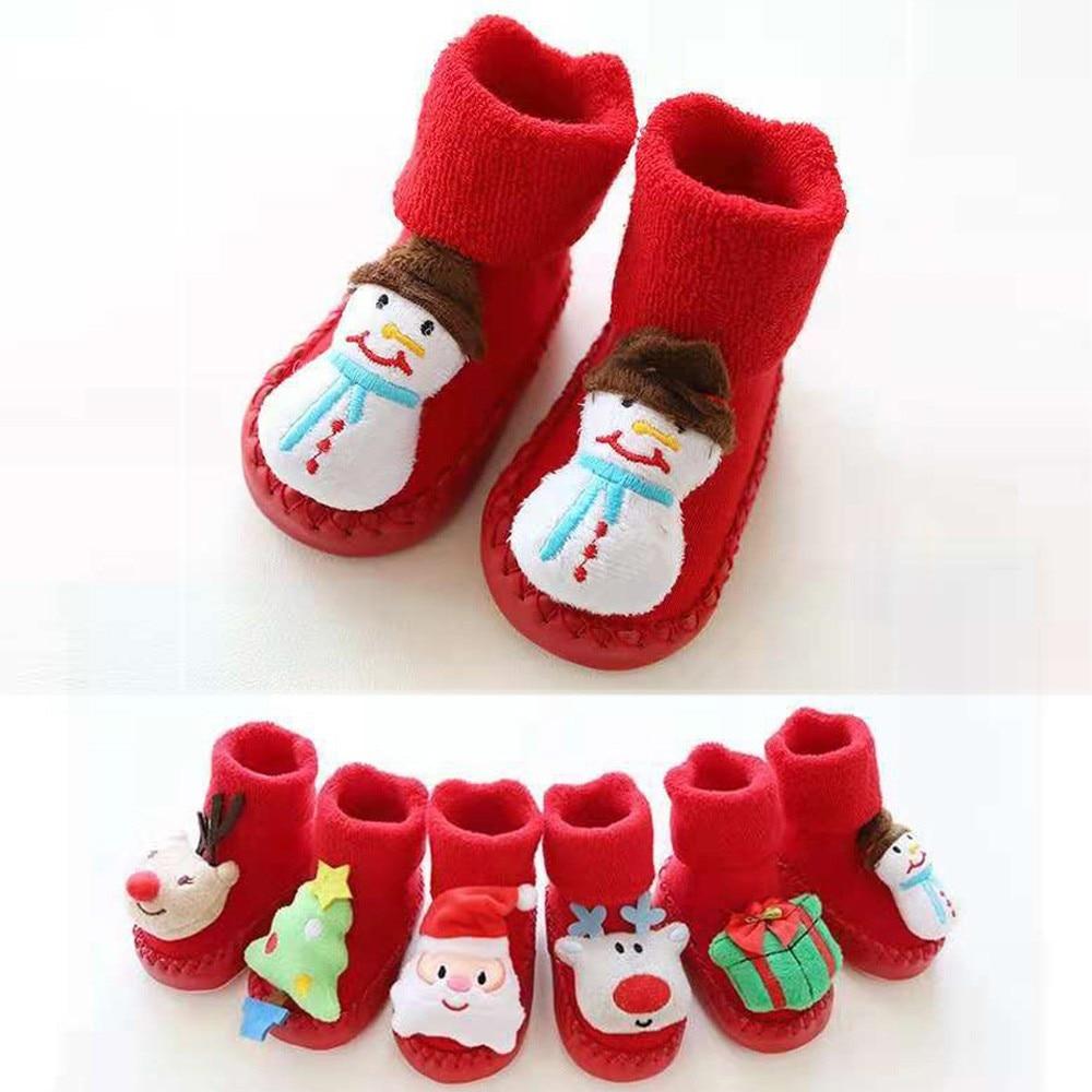 Newborn Baby Unisex Boys Girls Christmas Floor Socks Anti-Slip Baby Step Socks