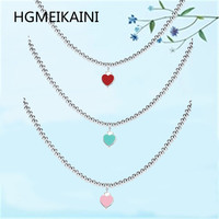 Tiff HGMEIKAINI 925% pure silver necklace 4 mm round bead string act the role ofing is tasted red enamel pendant ms love gift