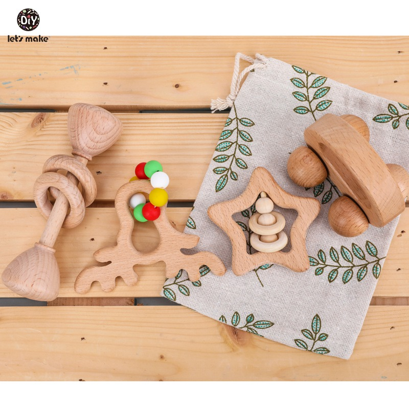 Let' S Make 4pc/set Baby Rattle Set Hand Teething Beech Wooden Animal Elk Star Christmas Gift Wood Rattles Educational Baby Toys