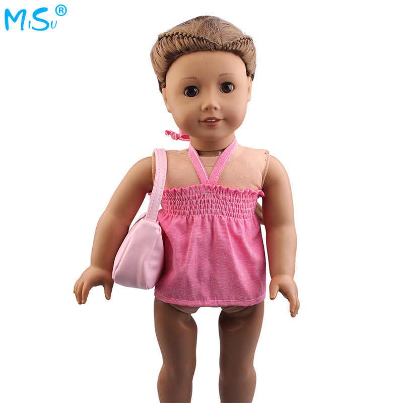 מכירה לוהטת 18-אינץ אמריקה של הנערה חצאית אמריקאי הילדה בובת חגור שמלת תיק סט