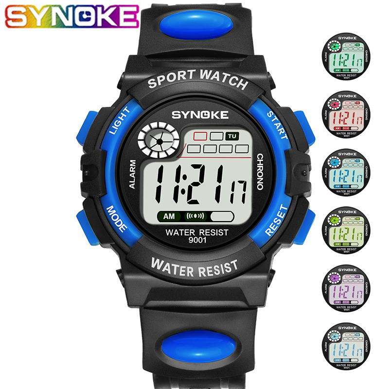 SYNOKE Children Digital  Watches Sports 7 Colors LED Waterproof Alarm Date Electronic Wrist Watches Large Dial Clocks For Kids