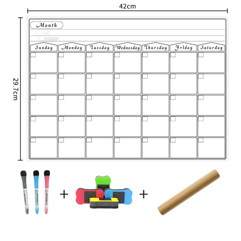 Magnetic DryErase Calendar For Fridge 3 Fine Tip Markers And Large Eraser With Magnets- Monthly Whiteboard For Refrigerator