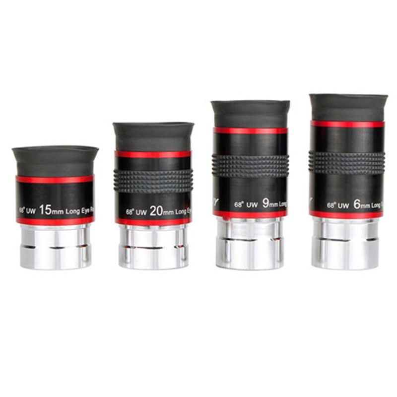 4Pcs/Set Eyepiece Kit 1.25 Inch 68 Degree Ultra Wide Angle 6/9/15/20mm for Astronomical Telescope Monocular
