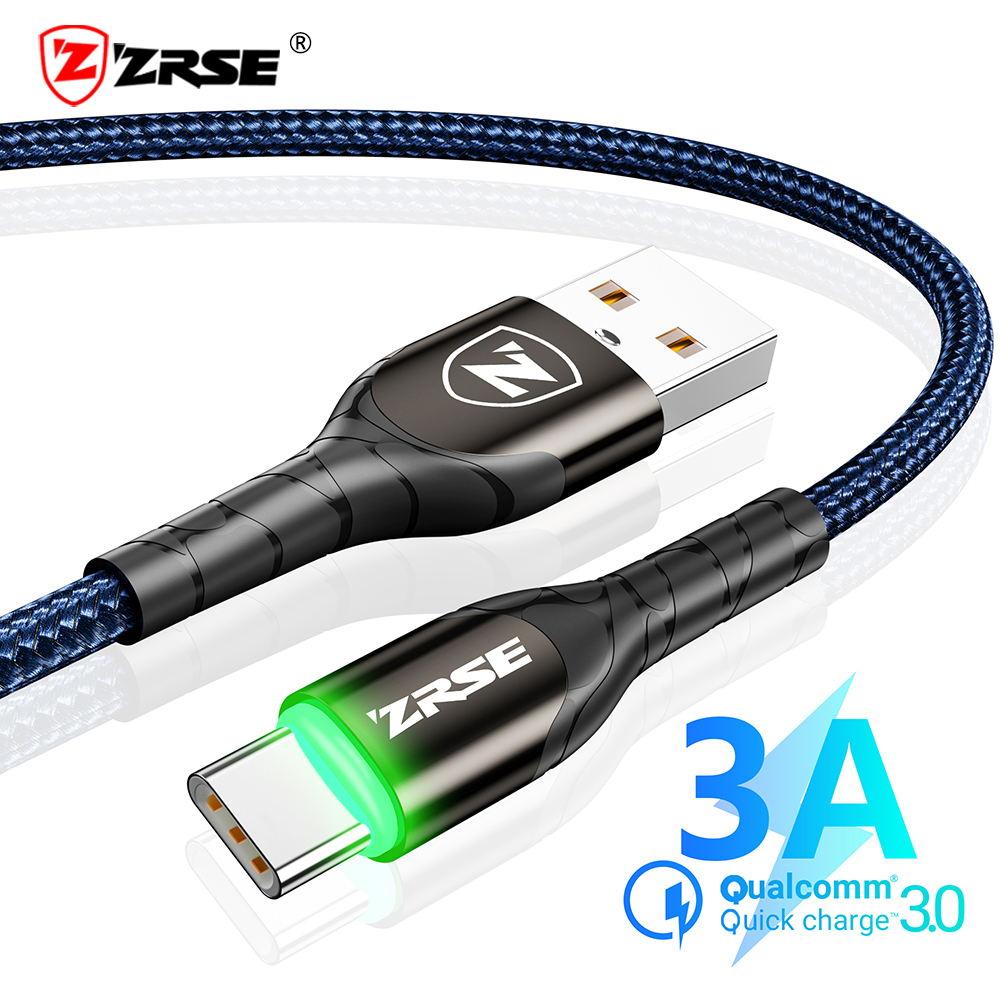 ZRSE 3M 2M 1M Type C Cable for Samsung A50 S10 S9 S8 S7 LED USB C Cable Data Sync Fast Charging For Xiaomi Mi9 Redmi Note 7 K20 image