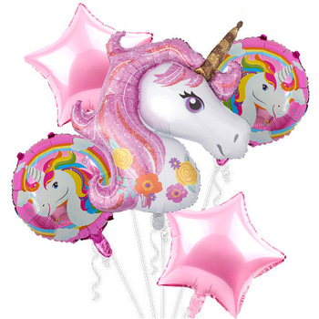 Large unicorn star foil balloons set  latex Helium balloon combination event party happy birthday decoration for kids transport theme balloon set latex balloon banner cake topper for happy birthday party decoration kids birthday balloons for kids