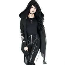 Gothic Asymmetric Hoody Coat Women Casual Top Autumn Fashion Color Block Printed Slim Female Black Outerwear Trench Coat rosetic gothic asymmetric coat vintage lace up autumn winter women black trench outerwear casual dark streetwear retro goth coat