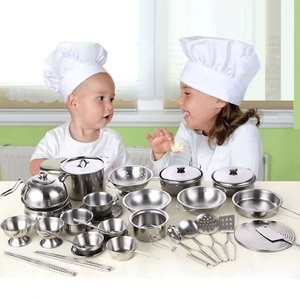 Stainless Steel Funny Kids Simulation Kitchen Toys Cooking Cookware Children Kitchen Tableware Pretend Role Play Toy for Kids