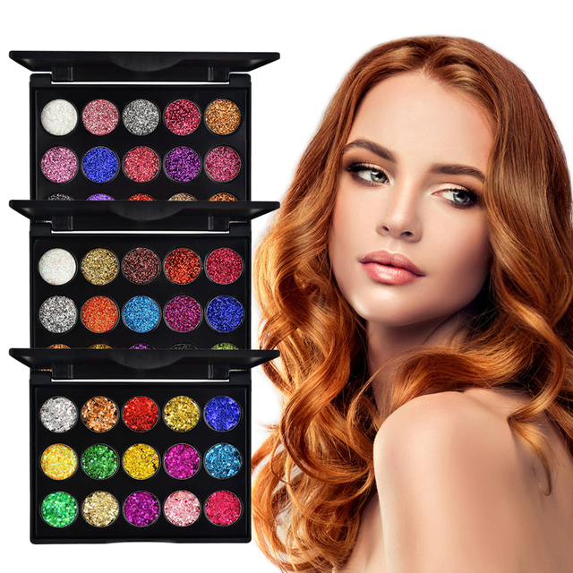 15 Color Diamond Sequins Lasting Eyeshadow Tray Glitter Powder Waterproof Eye Shadow Palette Stage Sequins Eye Makeup TSLM2 1