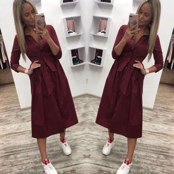 Women Vintage Front Button Sashes Party Dress Three Quarter Sleeve Turn Down Collar Solid Dress 2019 Autumn New Fashion Dress 3