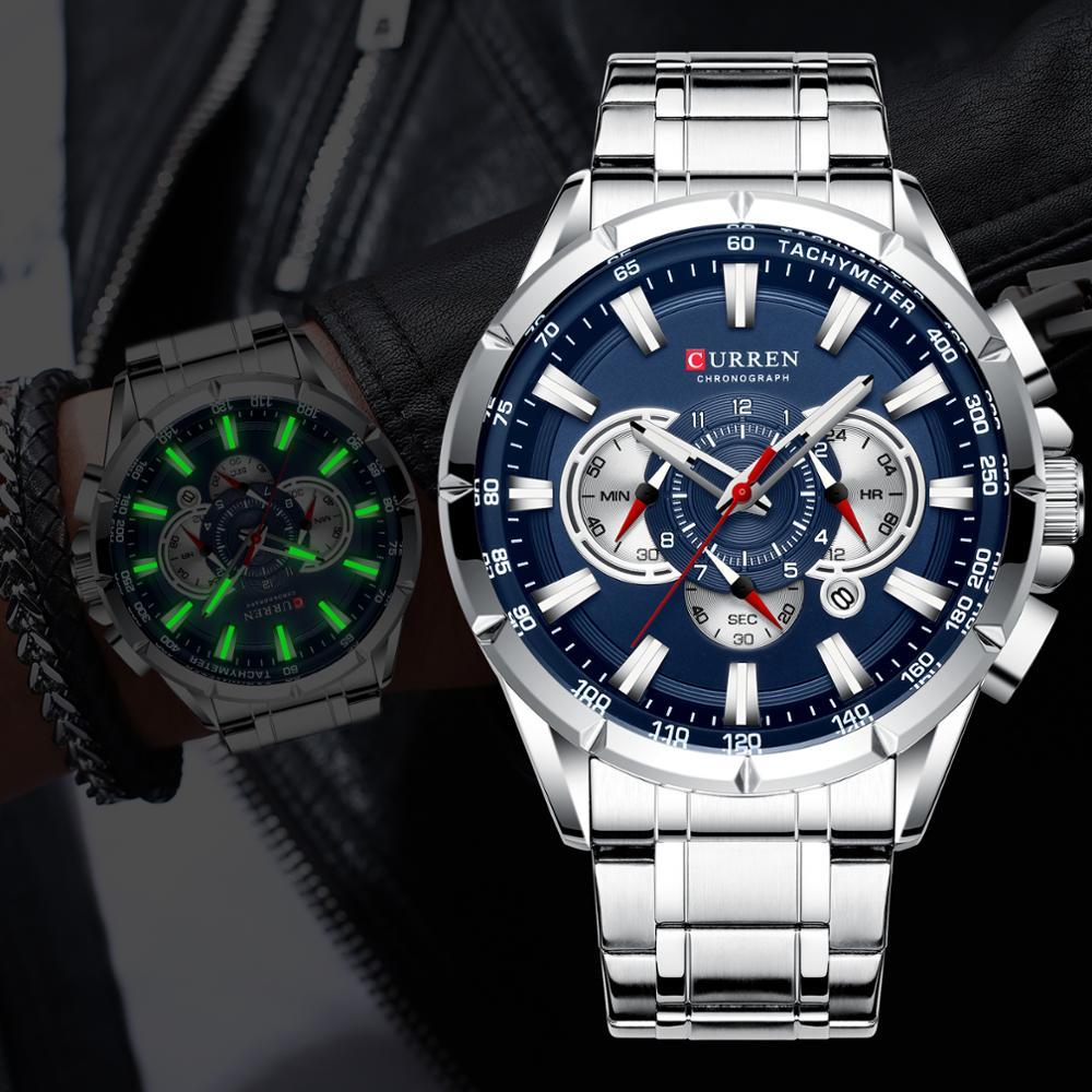 CURREN Men Watches Top Luxury Brand Sport Watch Blue Chronograph Quartz Man Wristwatches Stainless Steel Male Clock Reloj Hombre
